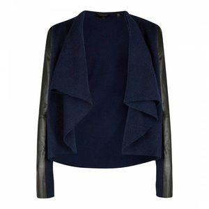 TED BAKER Gaeton Leather Wool Cardigan
